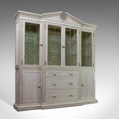 Vintage Display Cabinet, English, Beech, Travertine, Breakfront, Classical c1980