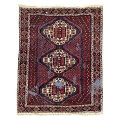 Vintage Distressed Afshar Rug