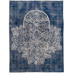 Vintage Distressed Blue Overdyed Rug