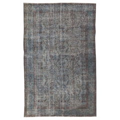 Blue Gray Color Distressed Vintage Oriental Rug