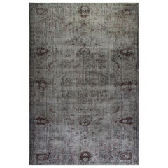 Distressed Vintage Handmade Rug Overdyed in Gray Color