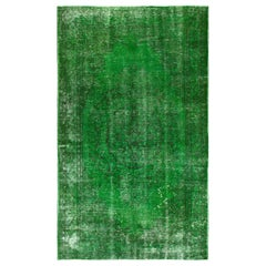 Distressed Vintage Rug Redyed in Green Color. Great with Contemporary Furniture