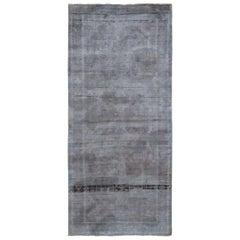 "Vintage Distressed Abrash Turkoman Runner Hand Knotted Oriental Rug, 3'8"" x 8'3"""