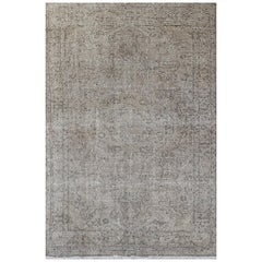 Vintage Wool Turkish Rug Over-Dyed in Gray and Stone Color