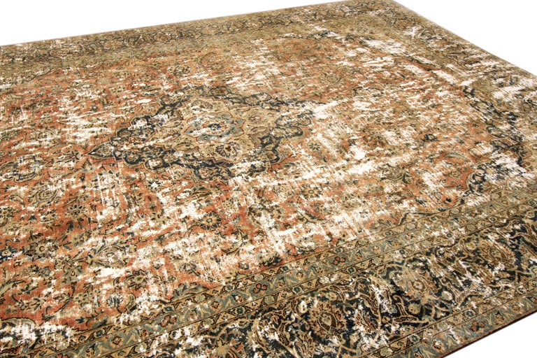 Vintage Distressed Hand Knotted Wool Rug For Sale 4