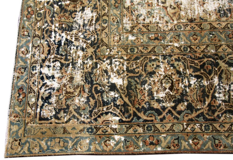 Hand-Knotted Vintage Distressed Hand Knotted Wool Rug For Sale