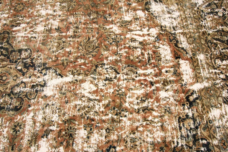 Vintage Distressed Hand Knotted Wool Rug For Sale 2