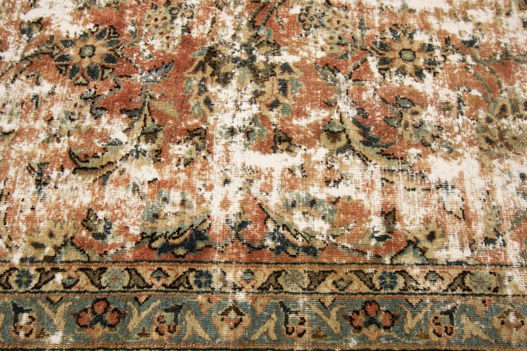 Vintage Distressed Hand Knotted Wool Rug For Sale 3
