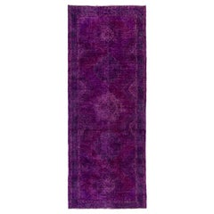 Distressed Vintage Anatolian Wool Rug Runner Re-Dyed in Purple Color