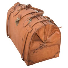 Vintage Distressed Leather Saddle Carry Travel Tote Doctor's Bag Paraguay