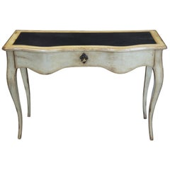 Vintage Distressed Oak French Serpentine Leather Top Entry Table Console Desk