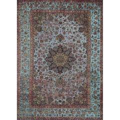 Vintage Distressed Overdyed Persian Tabriz Rug