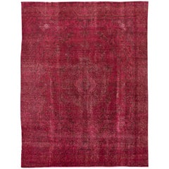 "Vintage Distressed Overdyed Pink Wool Rug. 9'4""x12'1"""