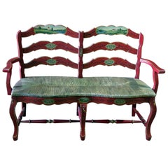 Vintage Scenic Paint Decorated Distressed Rush Seated Painted Settee
