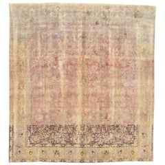 Vintage Distressed Tabriz Rug