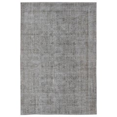 Vintage Distressed Turkish Rug with All-Over Pattern in Light Cream, Light Brown