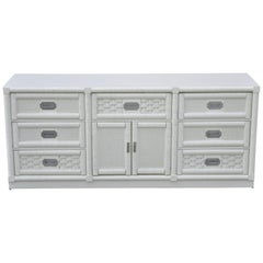 Vintage Dixie Cane Rattan Campaign Style White Long Dresser Credenza Cabinet