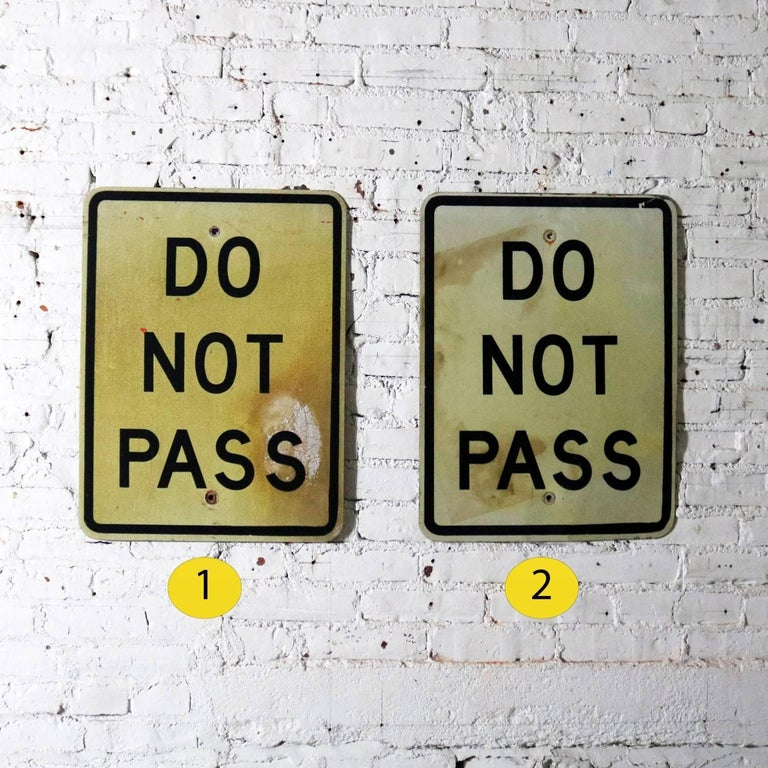 Vintage Do Not Pass Metal Traffic Signs For Sale 3