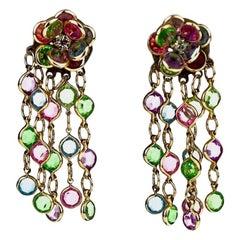 Vintage Documented LIZA MINNELLI Flower Cascading Swarovski Dangling Earrings