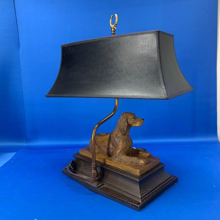 Vintage Dog Sculpture Desk Lamp With Black Shade For Sale 4