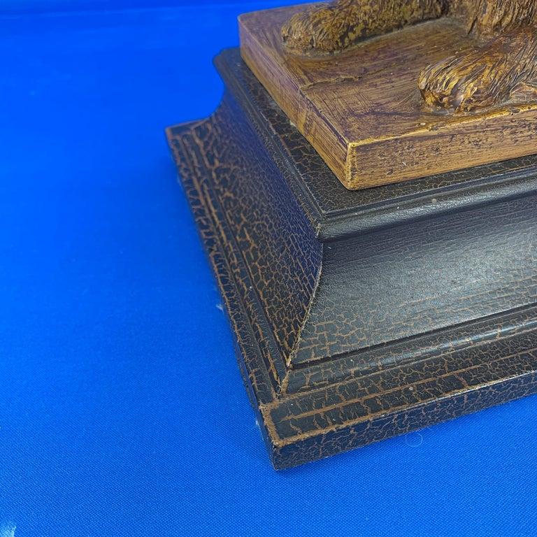 Vintage Dog Sculpture Desk Lamp With Black Shade For Sale 6
