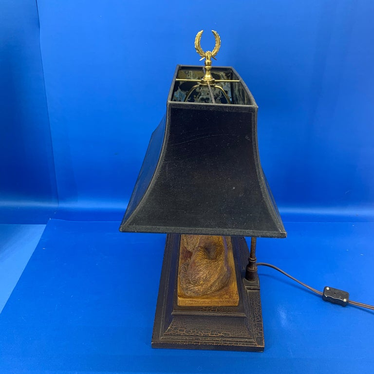 Vintage Dog Sculpture Desk Lamp With Black Shade For Sale 9