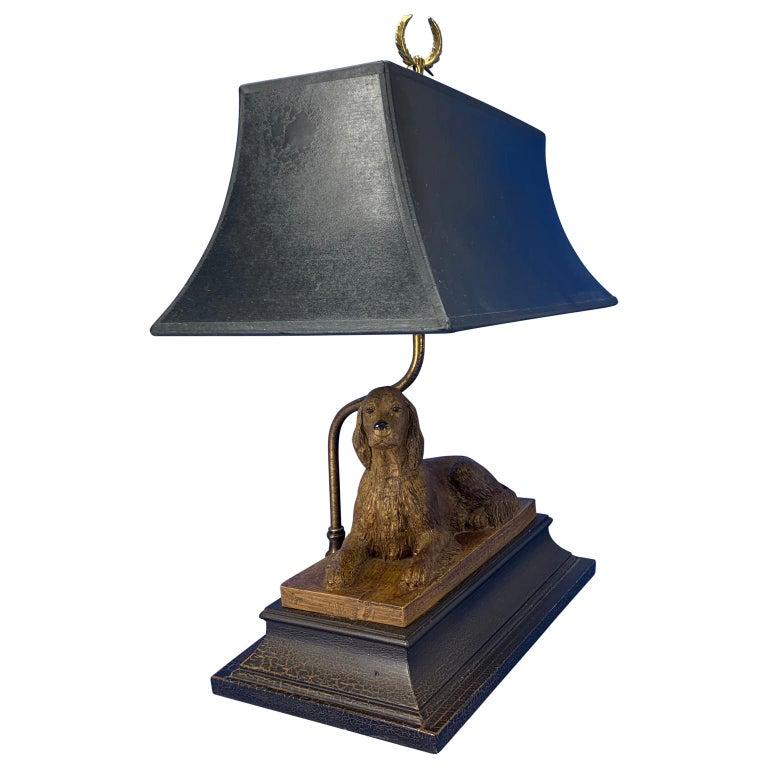 Mid-Century Modern Vintage Dog Sculpture Desk Lamp With Black Shade For Sale