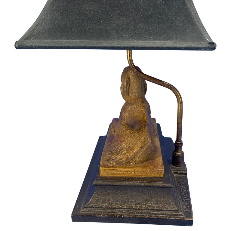 Vintage Dog Sculpture Desk Lamp With Black Shade In Good Condition For Sale In Haddonfield, NJ