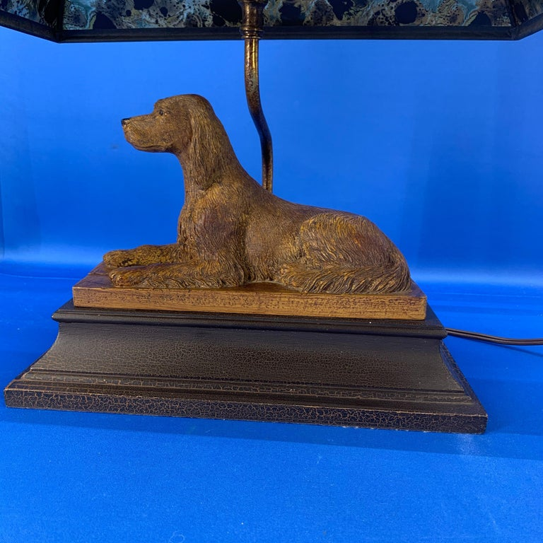 20th Century Vintage Dog Sculpture Desk Lamp With Black Shade For Sale