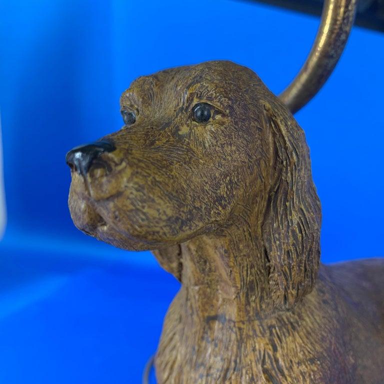 Resin Vintage Dog Sculpture Desk Lamp With Black Shade For Sale