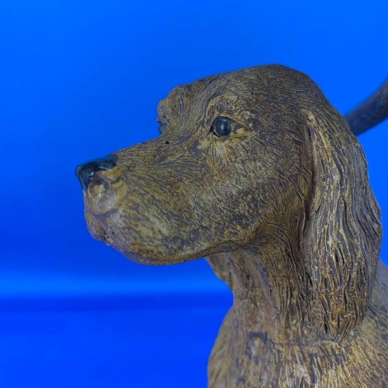 Vintage Dog Sculpture Desk Lamp With Black Shade For Sale 1
