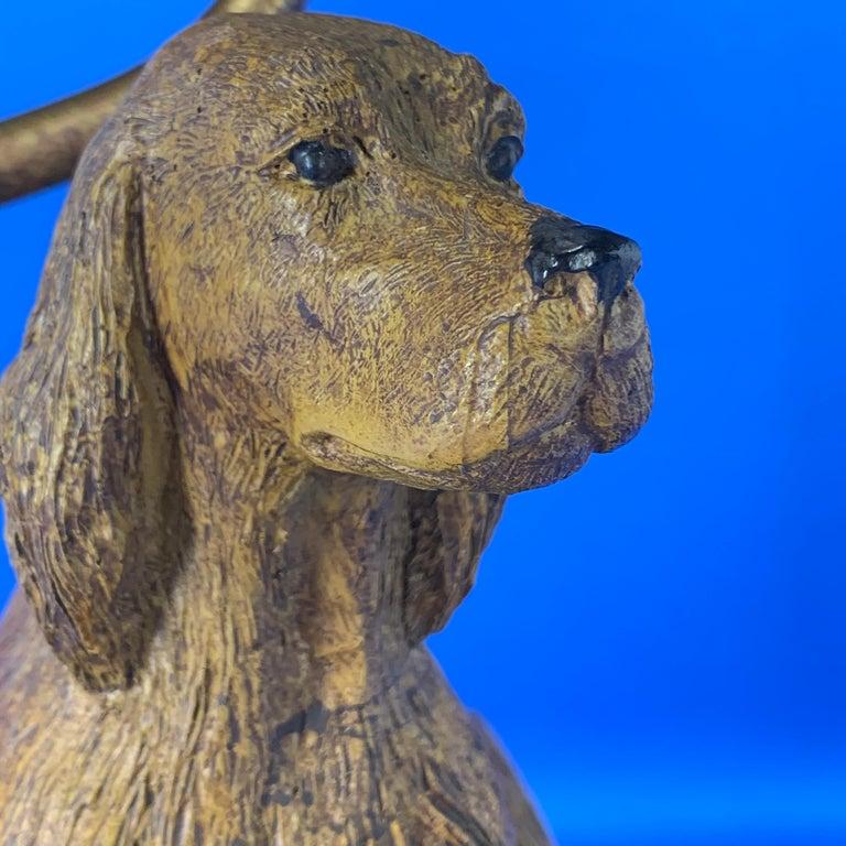 Vintage Dog Sculpture Desk Lamp With Black Shade For Sale 2