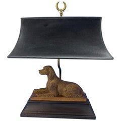 Vintage Dog Sculpture Desk Lamp With Black Shade