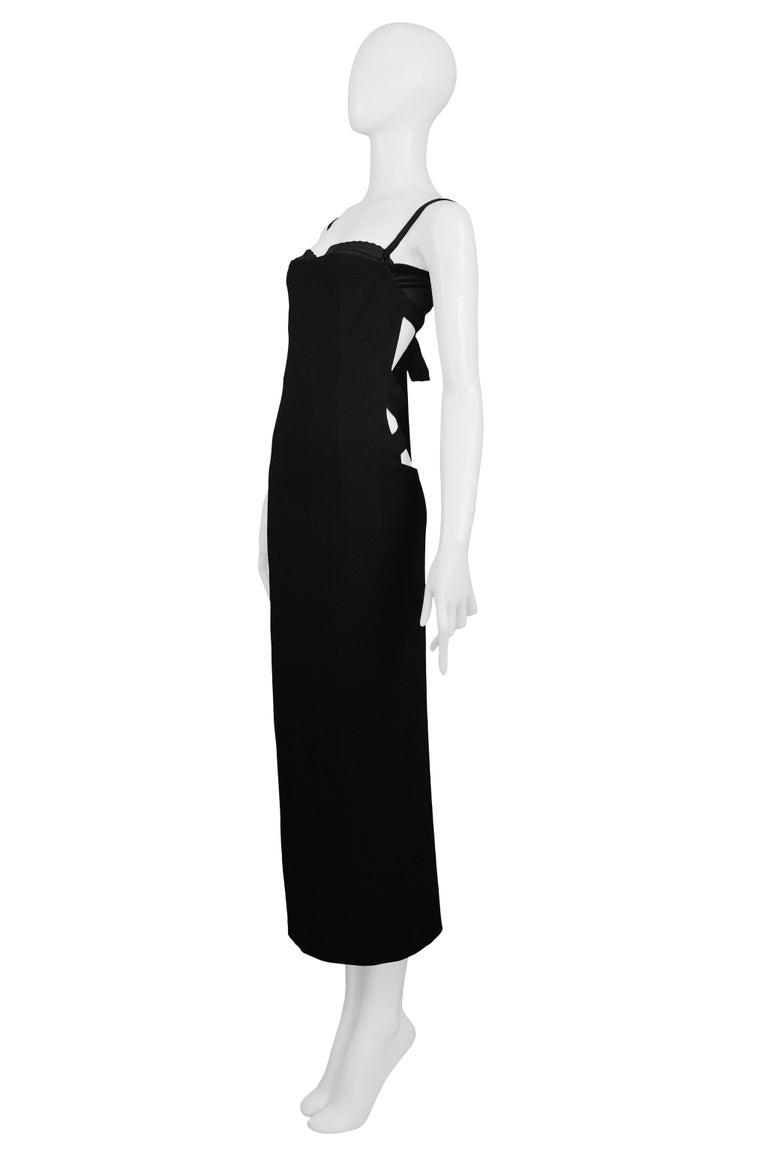 Women's Vintage Dolce & Gabbana Black Bondage 2001 Runway Dress For Sale