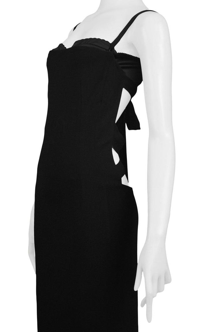 Vintage Dolce & Gabbana Black Bondage 2001 Runway Dress For Sale 1
