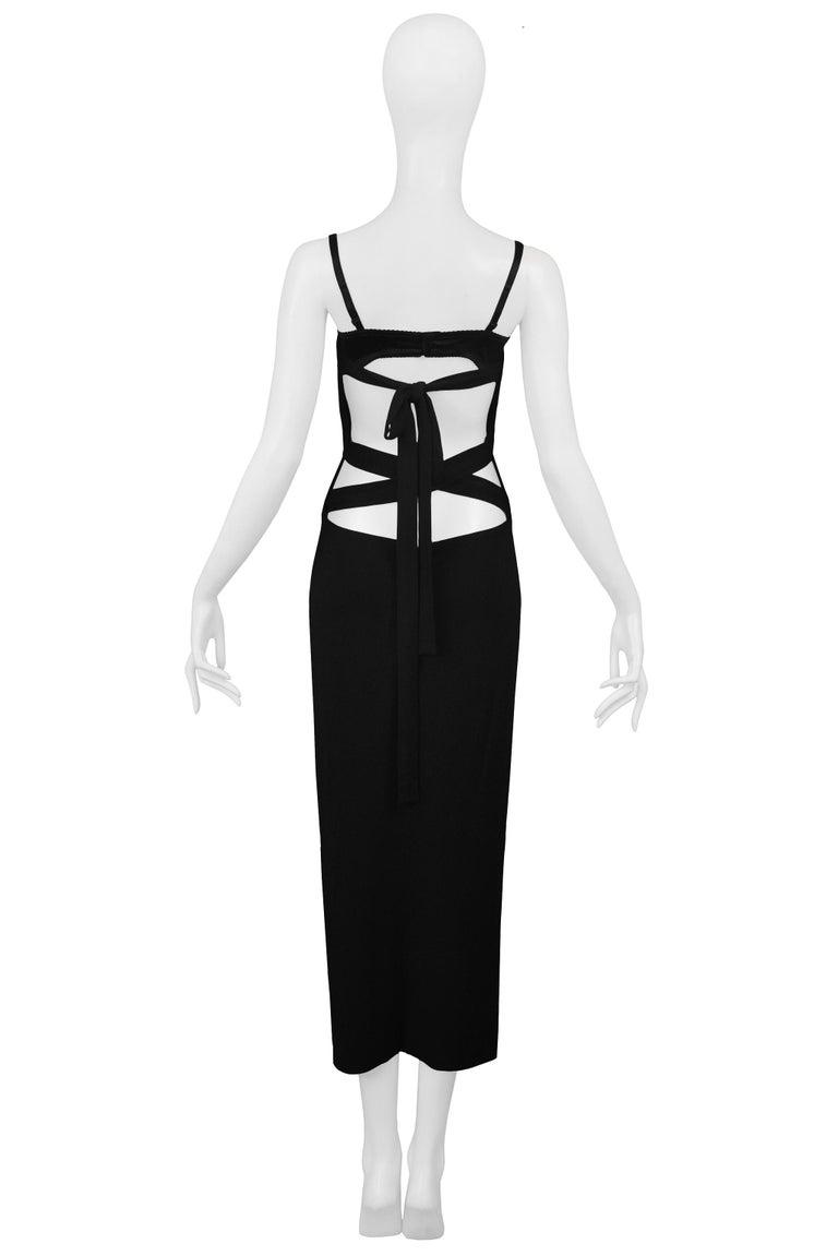 Vintage Dolce & Gabbana Black Bondage 2001 Runway Dress For Sale 2