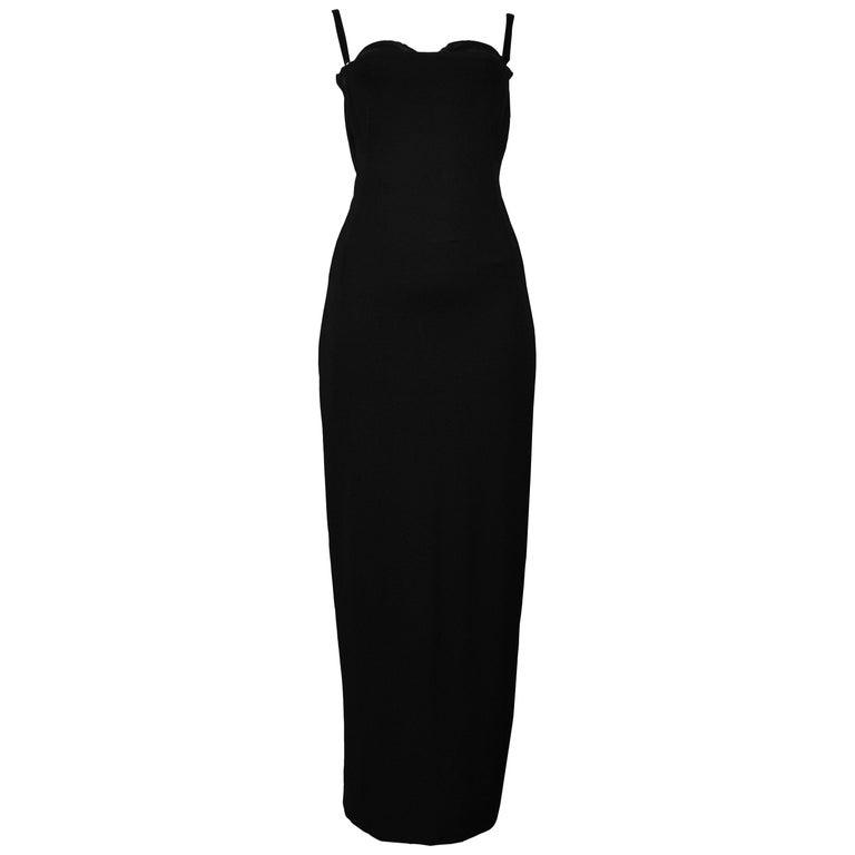 Vintage Dolce & Gabbana Black Bondage 2001 Runway Dress For Sale
