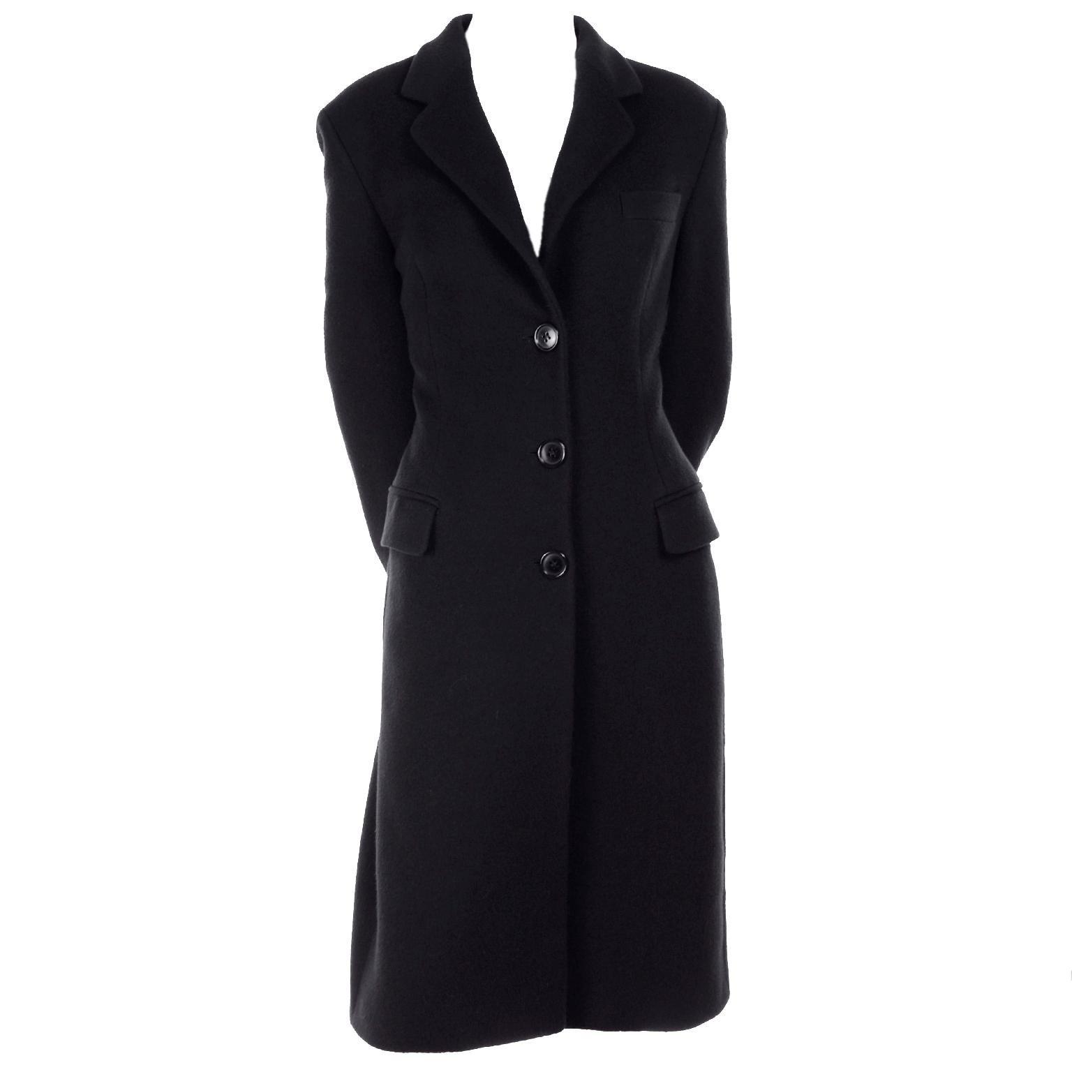 Vintage Dolce & Gabbana Midnight Cashmere Coat W/ Monogram Silk Lining