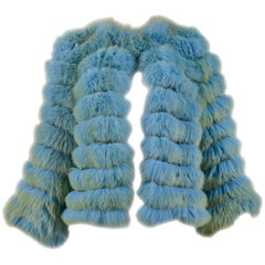 Vintage Dolce & Gabbana Blue & Chartreuse Green Fox Fur Chubby Jacket 1999