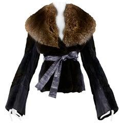 Vintage Dolce & Gabbana Brown Mink Fur Jacket with Fur Collar and Belt 2004