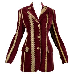 Vintage Dolce & Gabbana Burgundy Velvet Jacket with Gold Trim AW 1993
