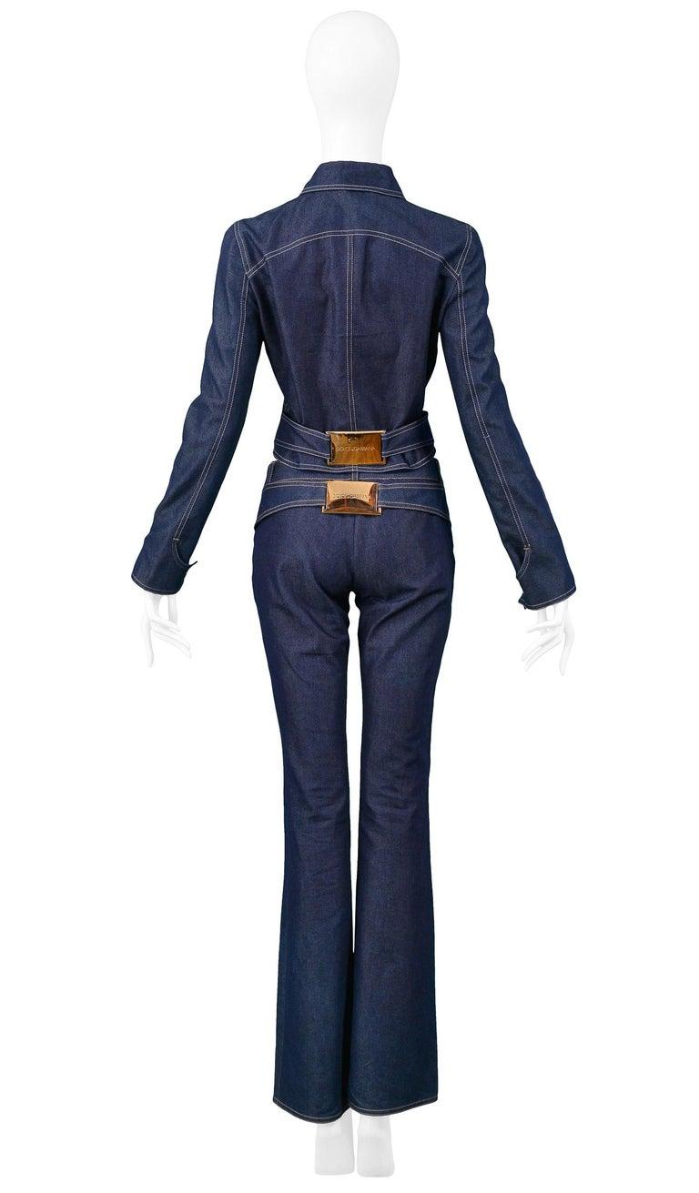 Vintage Dolce & Gabbana Denim Zip Front Jacket & pants Ensemble 2001 In Excellent Condition For Sale In Los Angeles, CA