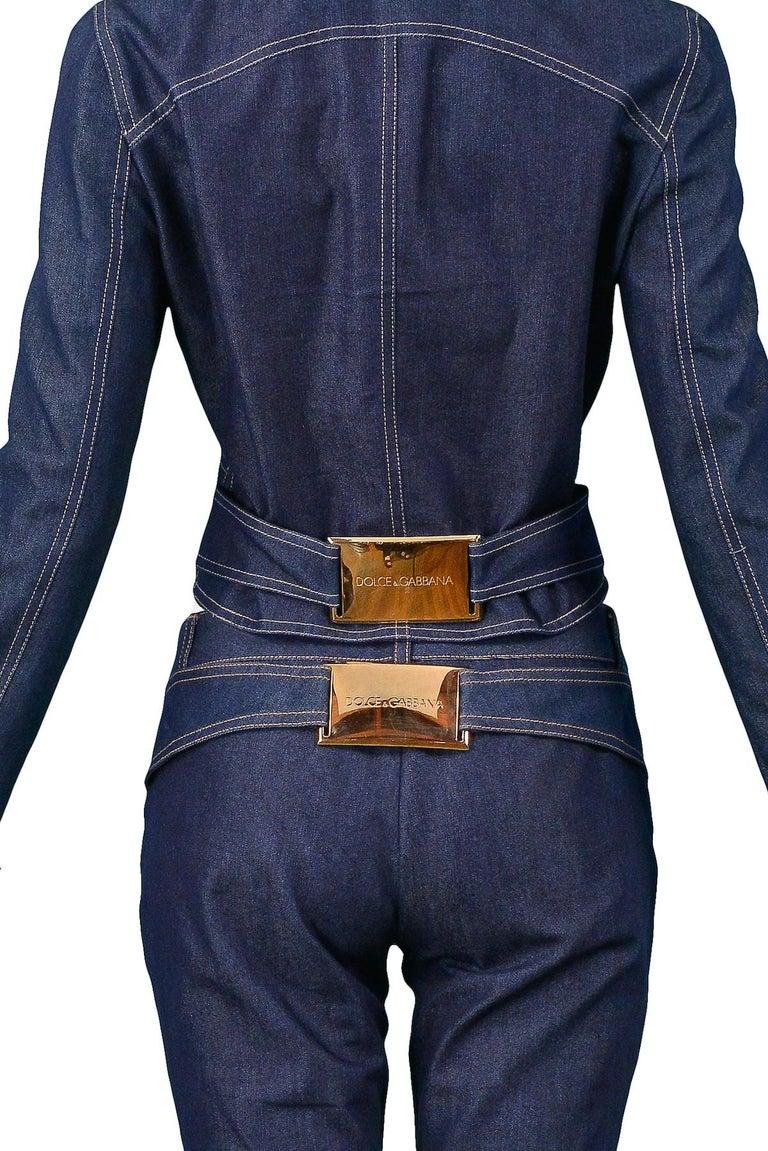 Women's or Men's Vintage Dolce & Gabbana Denim Zip Front Jacket & pants Ensemble 2001 For Sale