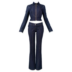 Vintage Dolce & Gabbana Denim Zip Front Jacket & pants Ensemble 2001
