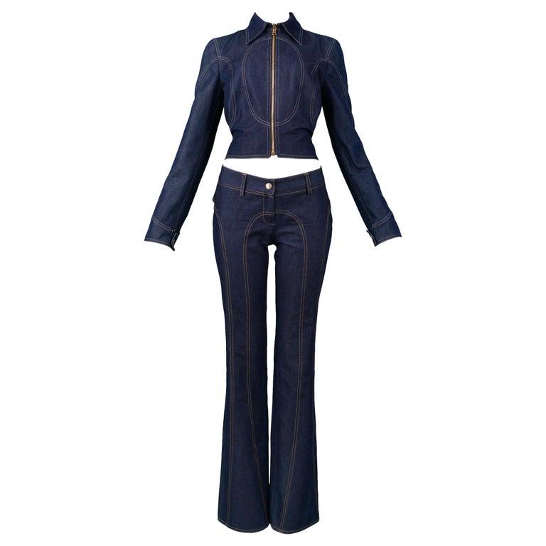 Vintage Dolce & Gabbana Denim Zip Front Jacket & pants Ensemble 2001 For Sale