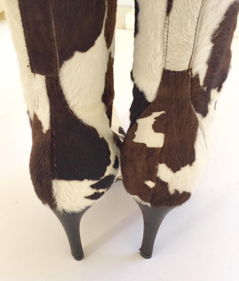 Leather Vintage Dolce Gabbana Fitted Boots Animal Print For Sale