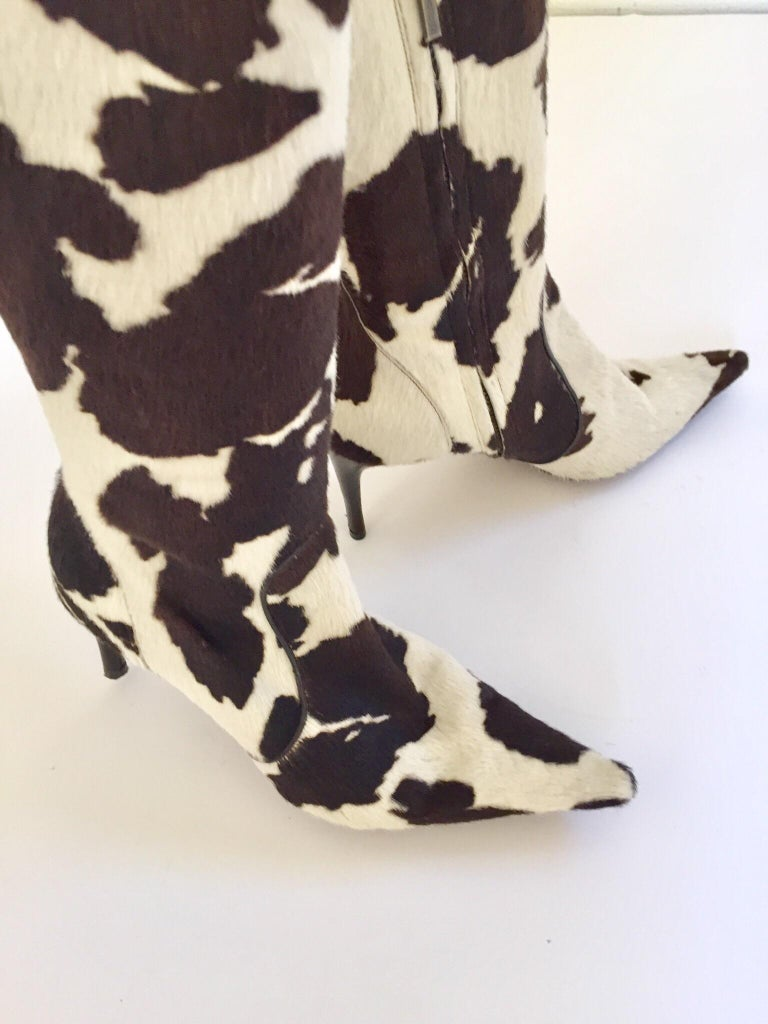 Vintage Dolce Gabbana Fitted Boots Animal Print For Sale 2