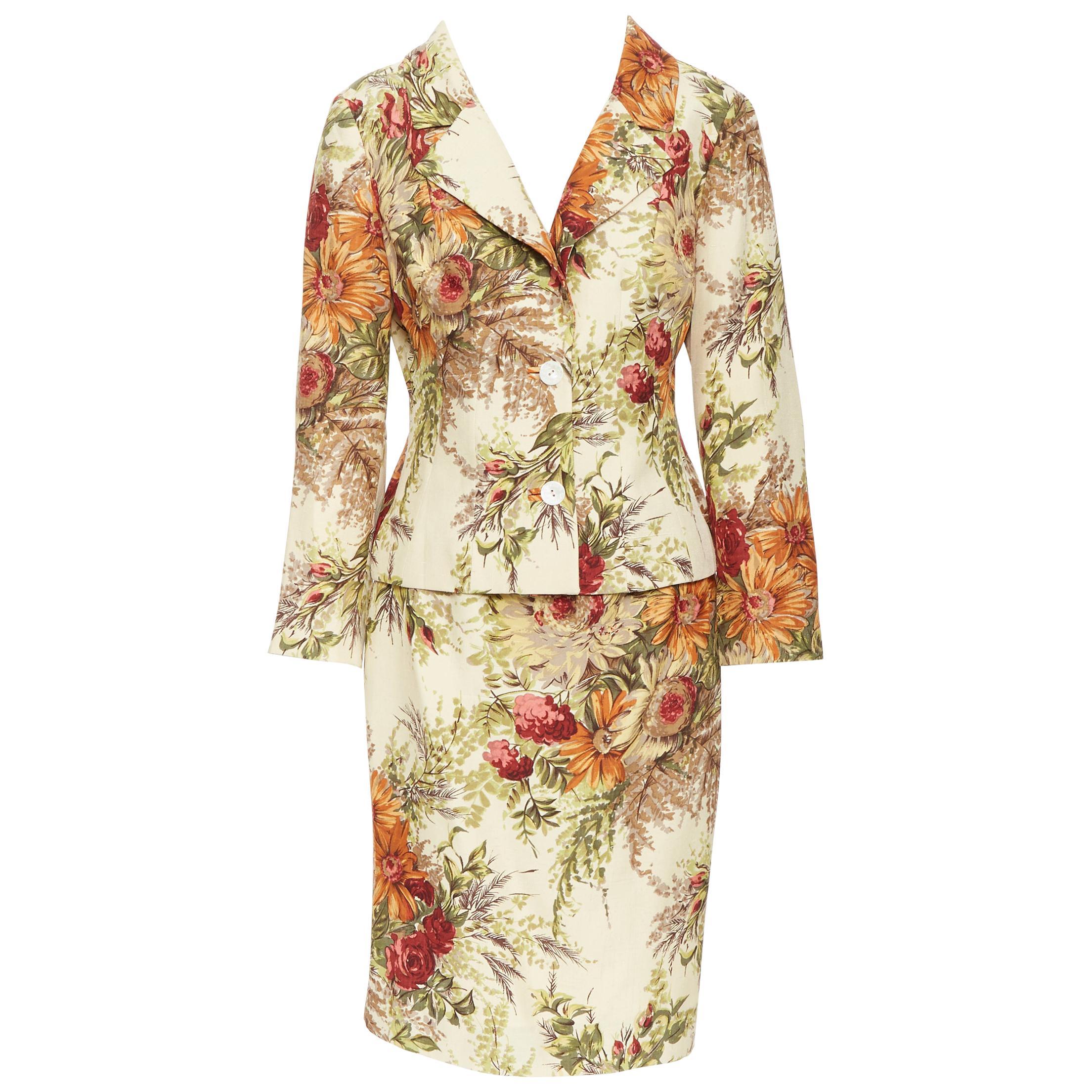 vintage DOLCE GABBANA floral illustration print raw linen jacket skirt suit IT42