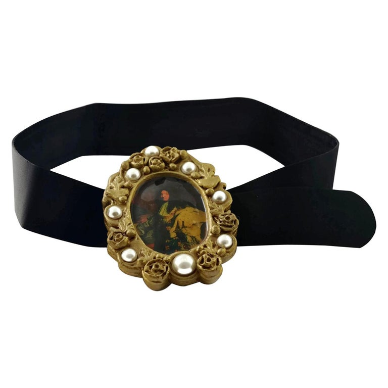 Vintage DOLCE & GABBANA King Louis XIV Frame Portrait Belt For Sale