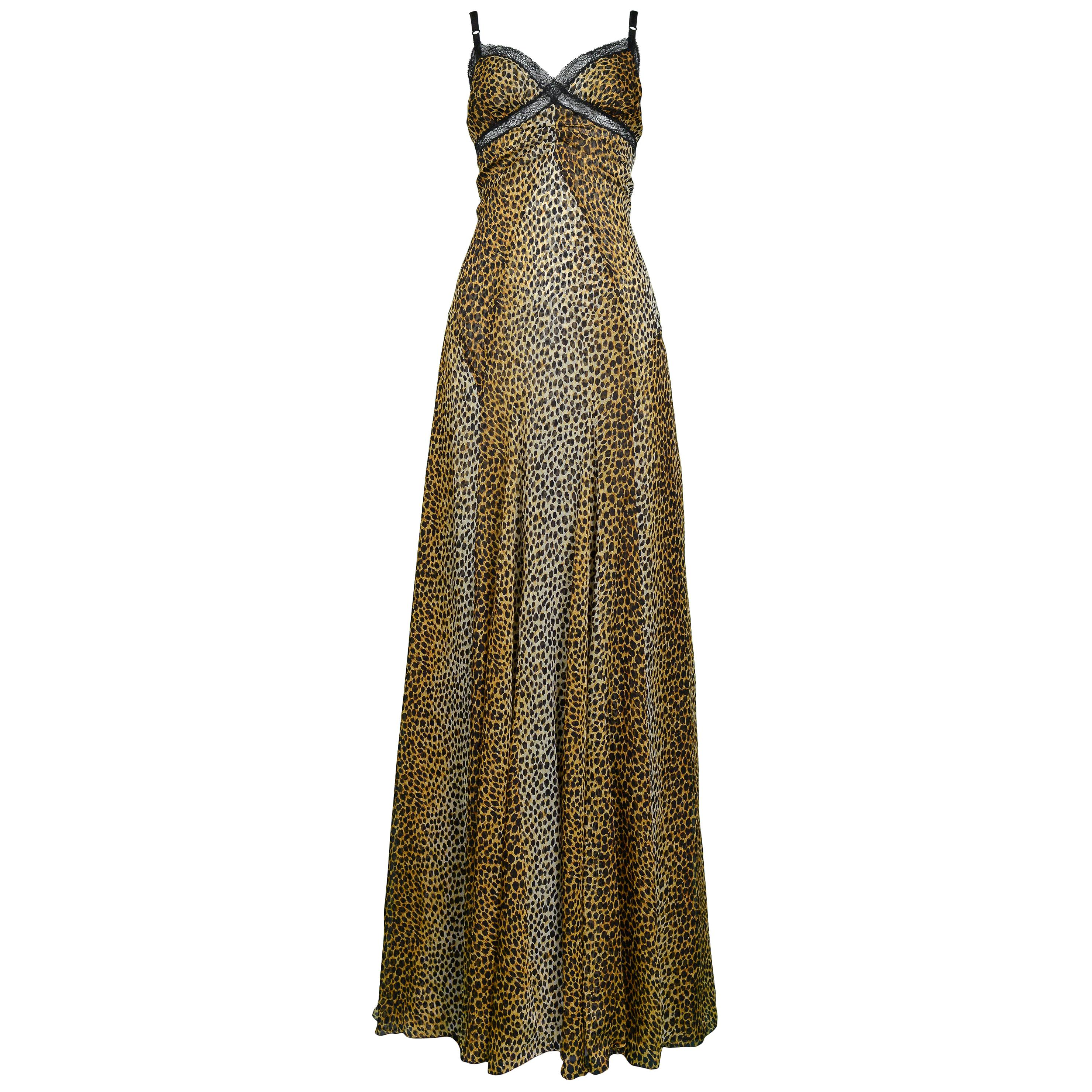 Vintage Dolce & Gabbana Leopard Gown with Train
